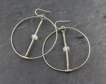 Large Vertical Wrapped Opalite Hoop Earrings//Opalite Earrings//Opalite Hoops//Big Sexy .925 Sterling Silver Hoops//©The Gem Gypsy New York