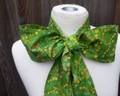 Upcycled Steampunk Clothing, Mad Hatter Bow Tie- Alice in Wonderland (Lime Green Batik Print) Neck Tie, Handmade Bow Tie