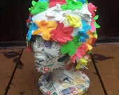 Vintage 1960s Style Swim Cap, Rainbow Flower Hat, Vintage Hat, Flower Rubber Swim Cap, Rainbow Hat