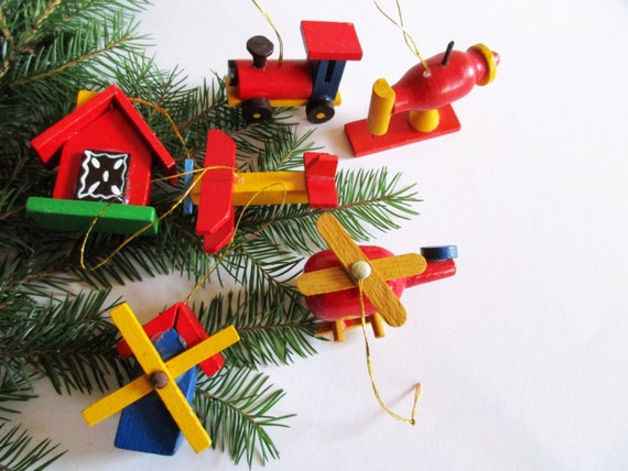 Set of 6 piece German Vintage Erzgebirge Christmas Wood Ornaments, Sewing Machine, Truck, Airplane, Helipcopter, Windmill