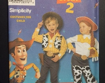 Simplicity Sewing Pattern 4869 Disney Children's Toy Story 2 Woody and Jessie Costume Size 3-8