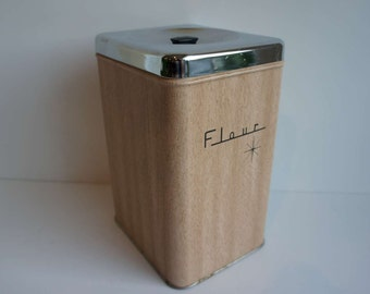Vintage Atomic Metal Canister Mid Century Kitchen Canister