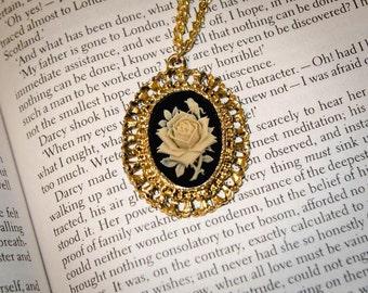 Vintage Frame, Jane Austen/ Georgian Regency Style Rose Cameo Necklace: Gold, Black and Ivory