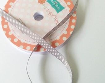 Grosgrain Ribbon, Gray Polka Dot Ribbon, Ribbon Trim by Riley Blake