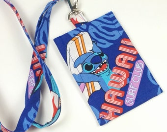ID Holder, Lilo and Stitch Novelty Clip On  ID Holder with Hidden Cash Stash and Matching  Lanyard