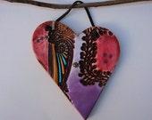 Boho Pottery Heart Wall Decor, Bohemian Wall Heart, Red Purple Handmade Heart Wall Hanging, Ceramic Heart, Gift for a Friend.