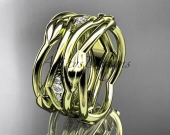 14kt yellow gold leaf and vine wedding ring, wedding band ADLR351B