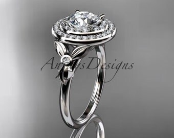 14kt  white gold diamond floral wedding ring,engagement ring ADLR133