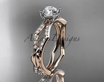 14kt rose gold diamond leaf and vine wedding ring,engagement ring ADLR353