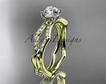 14kt yellow gold diamond leaf and vine wedding ring,engagement ring ADLR353