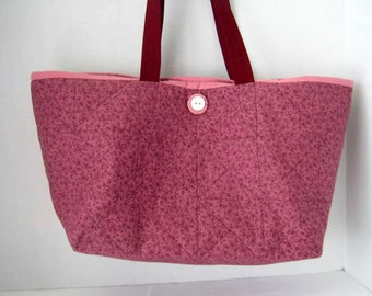 Raspberry Red Quilted Tote, Knitting Crochet Library Book Bag