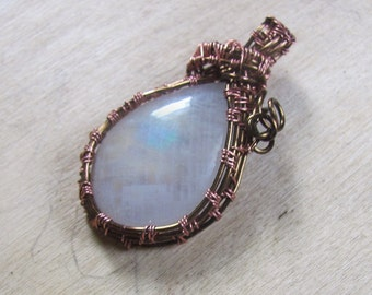Wire Wrapped Woven Wire Rainbow Moonstone Cabcchon