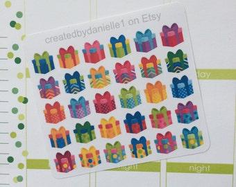 40-50% OFF SALE - Present Planner Stickers, Birthday Gift Stickers, Present Stickers, Birthday Present Stickers, set of 30