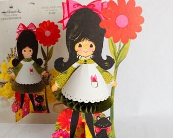 Vtg 1960s Honeycomb Little Alice Ann Hallmark Plans a Party Centerpiece Girl Cat