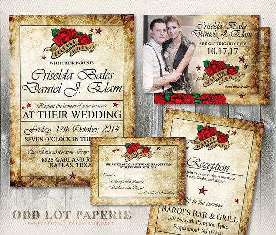 Rose Wedding Invitation, Vintage Wedding, Rocker Wedding, Printable Wedding Save the Date Card, DIY Printable Wedding Set, Rose Tattoo