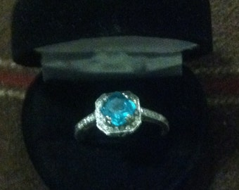 Ring Paraiba Blue Apatite Ring Vintage Style with Diamonds Sterling Silver