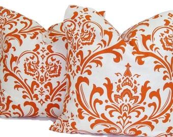 ORANGE PILLOW SET.16, 18 or 20 inch.Decorative Pillow Cover.Burnt Orange, Rust Floral Pillows.Fall Cushions. Orange Throw Pillow.Orange, cm