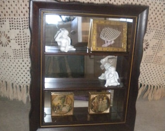 Vintage Small Wooden Mirrored Back Shadow Box, Shelf, Eclectic Decor