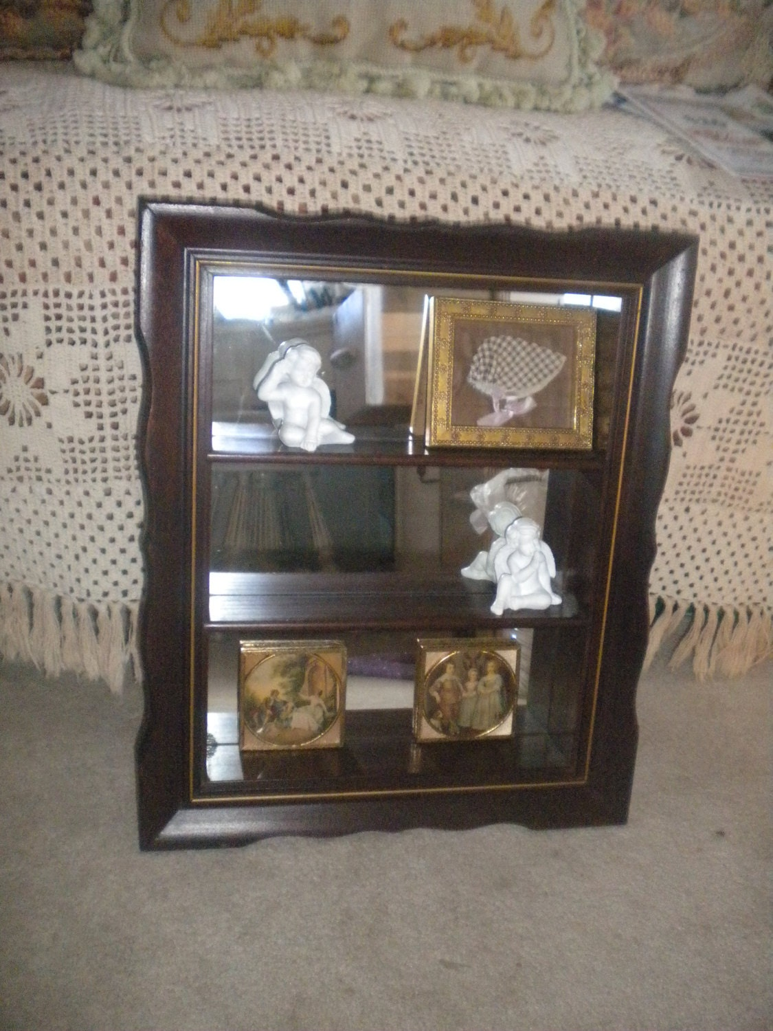 Vintage small wooden mirrored back shadow box shelf eclectic for Mirrored box shelves