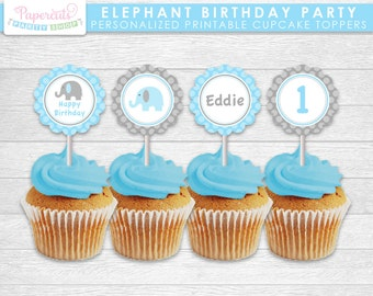 Elephant Theme Birthday Party Cupcake Toppers | Blue & Grey | Personalized | Printable DIY Digital File