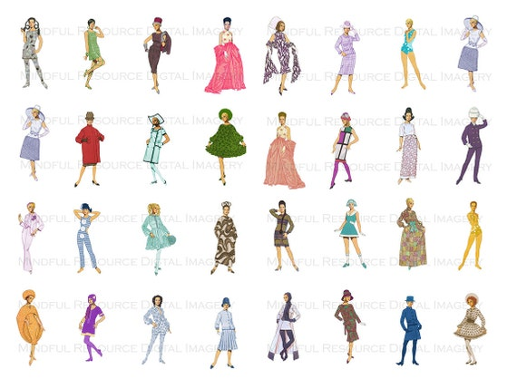 Groovy 60s Paper Doll Clip Art Retro Fashion Printables ...