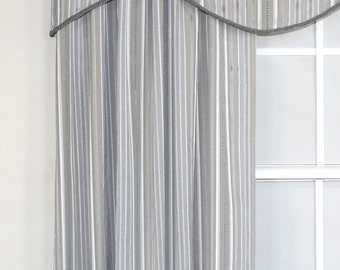 Gray striped shaped valance and panel with or without French gimp trim