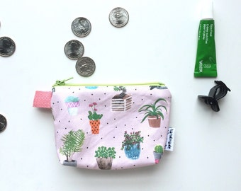 House Plants Divided Mini Flat Bottom Pouch / Coin Purse (handmade philosophy's pattern)