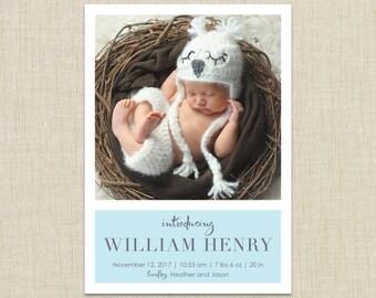 baby boy birth announcement-- modern