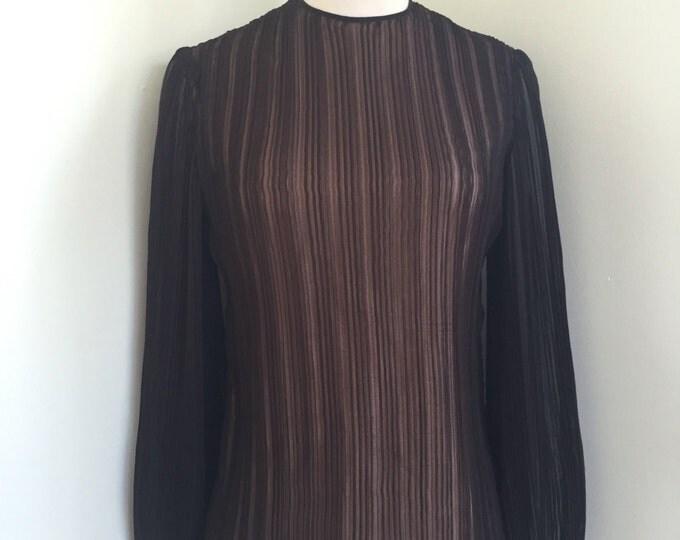 1960s/1970s Vintage Black Chiffon Fancy High Neck Blouse