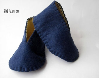 PDF PATTERN: Felt Baby Booties sewing tutorial - Baby Shoes DIY