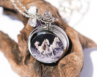 Horse Jewelry, Horse Necklace, Silver Pocket Watch, Equestrian Jewellery, Handmade Necklaces, Cowgirl, Gift for Horse Lover