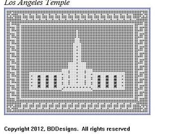 LDS Los Angeles Temple in Filet Crochet