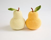 Crochet pear (1 pc) - fun kid toy, baby rattle, kitchen decoration, pincushion - eco-friendly toys by FrejaToys