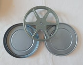 Movie Film Reel Case Canister Vintage Light Blue Gray Aluminum Prop Home Theater Decor #5