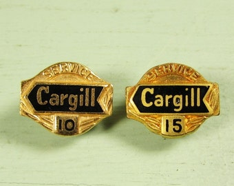 Cargill Service Pins - Vintage 10 15 Year Award Lapel