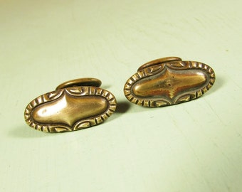 Antique Brass Cuff Links - Vintage Raised Relief Oval