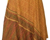 Mid-Calf Length Vintage Silk Sari Magic Wrap Skirt Reversible Dress Multi Layered India DU29