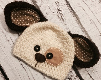 Scrappy the puppy crochet hat, photo prop