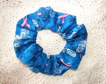 Beautiful Blues Pink Ribbon Breast Cancer Awareness Fabric Hair Scrunchie hope butterflies scrunchies survivor