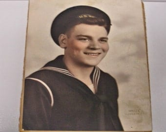 Vintage WWII Navy Sailor Color Photo 10 by 7 Richmond Va. paper ephemera Old Photos Found Photos