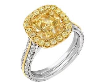 GIA Certified 5.00 Carat Halo Cushion Cut Fancy Yellow Diamond Engagement Ring