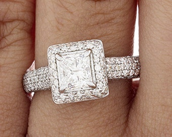2.00 Ct GIA Princess Cut Diamond Engagement Ring Halo E-F VS2-SI1 18k White Gold