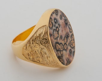 Jasper Leopard Spot Ring Gold Plated Sterling Silver 925