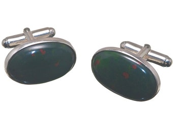 Bloodstone Cufflinks Giant Large Hand Crafted Oval Regnas Sterling Silver 925