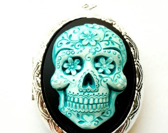Blue Turquoise Sugar Skull Day of the Dead Locket Necklace Pendant Goth Steampunk