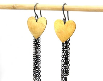 Brass Heart - Hipster Love Symbol - Steampunk Chained Hearts - Two Hearts - Unchain My Heart - Gothic Heart Dangle - Punk Rock Pierced Heart