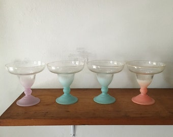 vintage atomic mid century multicolor pastel ombre blendo margarita glasses set. regency tiki mid century frosted cocktail champagne martini