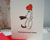 happy valentine's day card, dog valentine card, dog card,  you've captured my heart, love is in the air,  fun valentine card