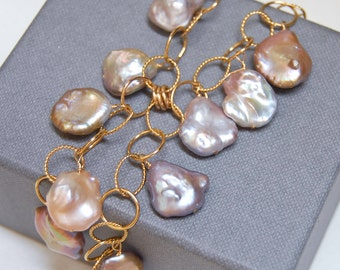 Pearl Cascade Necklace |  Keshi Freshwater  | Statement Necklace