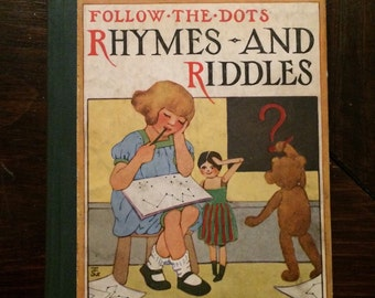 Rhymes and Riddles Follow-the-Dots  Vintage Children's Book 1920s